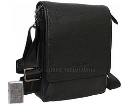 Чоловіча шкіряна сумка через плече чорна (Формат: більше А5) HT-1569-4, фото 2