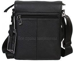 Мужская кожаная сумка через плечо черная (Формат: больше А5) HT-1569-4, фото 3