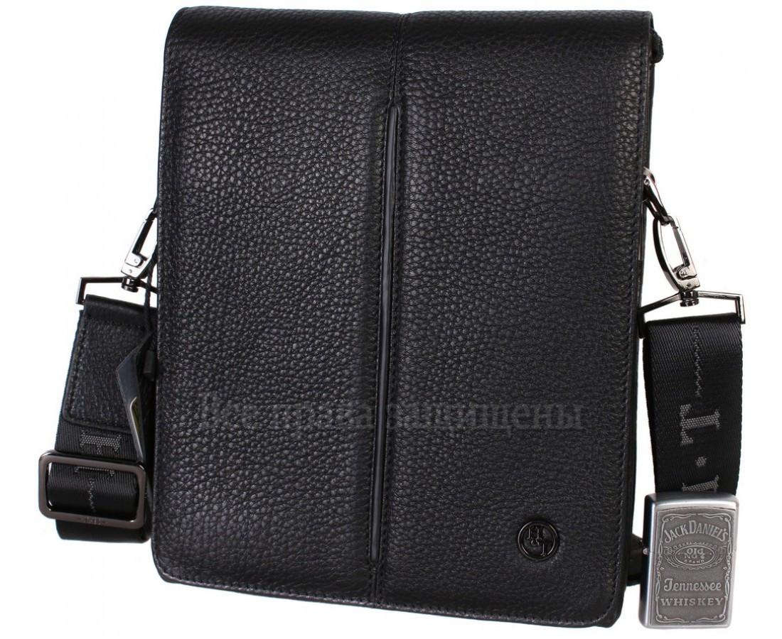 Чоловіча шкіряна сумка через плече чорна (Формат: більше А5) HT-5281-4