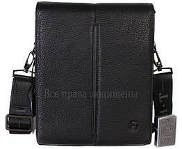 Мужская кожаная сумка через плечо черная (Формат: больше А5) HT-5281-4, фото 2