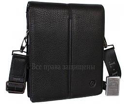 Мужская кожаная сумка через плечо черная (Формат: больше А5) HT-5281-4, фото 3