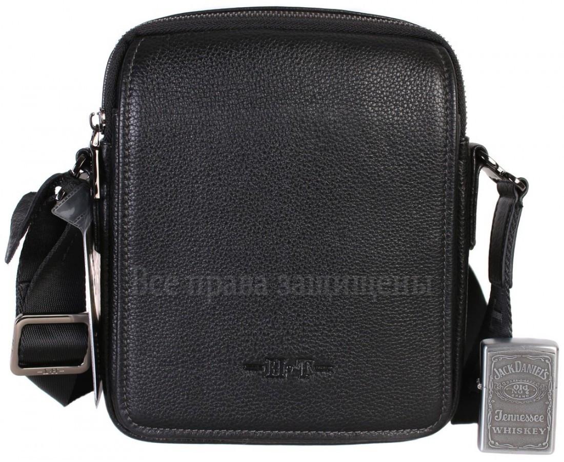 Чоловіча чорна шкіряна сумка (Формат: більше А5) HT-407-29