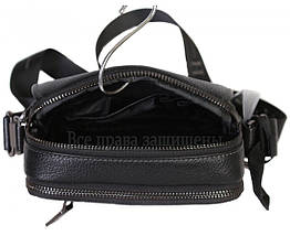 Чоловіча чорна шкіряна сумка (Формат: більше А5) HT-407-29, фото 2