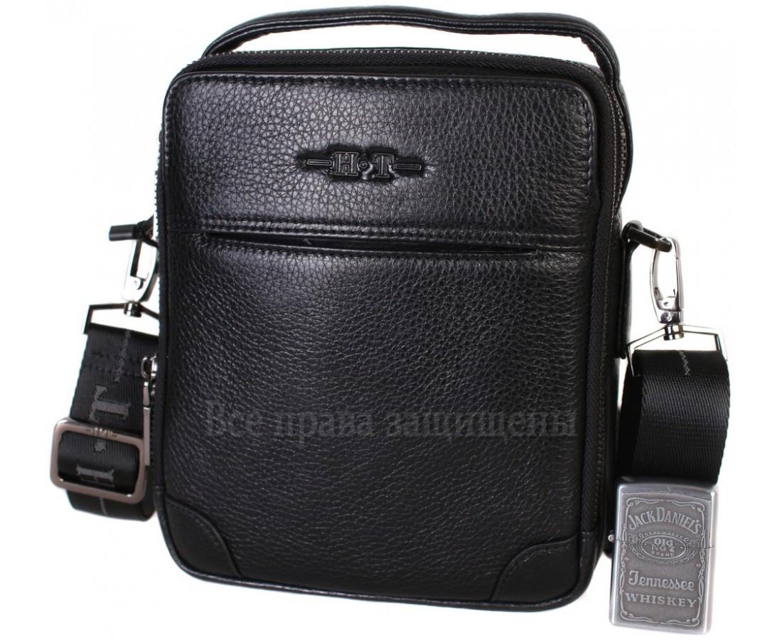 Мужская кожаная сумка через плечо черная (Формат: меньше А5) HT-407-33