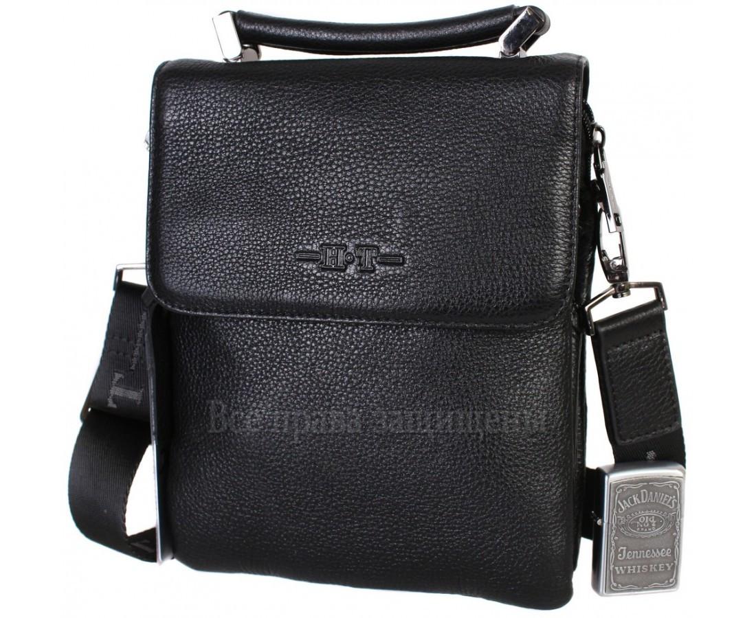 Чоловіча чорна шкіряна сумка (Формат: більше А5) HT-1330-5