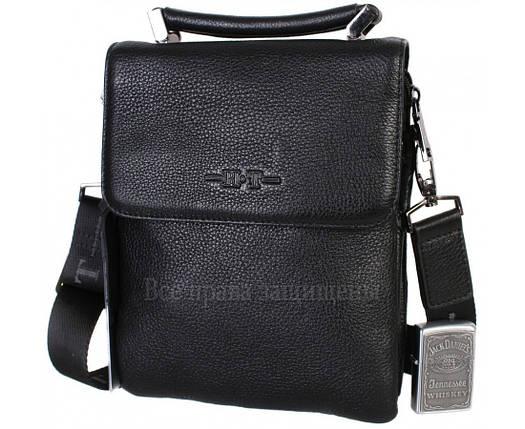 Чоловіча чорна шкіряна сумка (Формат: більше А5) HT-1330-5, фото 2