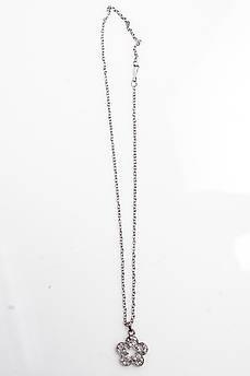 Цепочка с кулоном цветочек 4012 цвет серебра