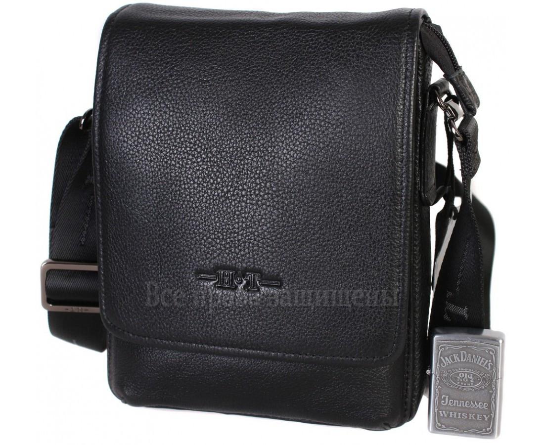 Мужская кожаная сумка через плечо черная (Формат: больше А5) HT-1569-6