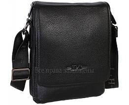 Мужская кожаная сумка через плечо черная (Формат: больше А5) HT-1569-6, фото 2