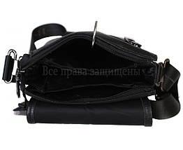 Мужская кожаная сумка через плечо черная (Формат: больше А5) HT-1569-6, фото 3