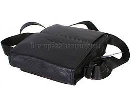 Мужская кожаная сумка через плечо черная (Формат: больше А5) HT-1571-4, фото 2