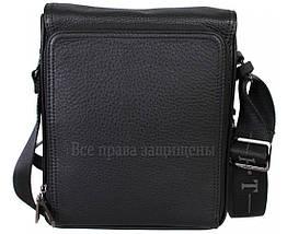 Мужская кожаная сумка через плечо черная (Формат: больше А5) HT-1571-4, фото 3