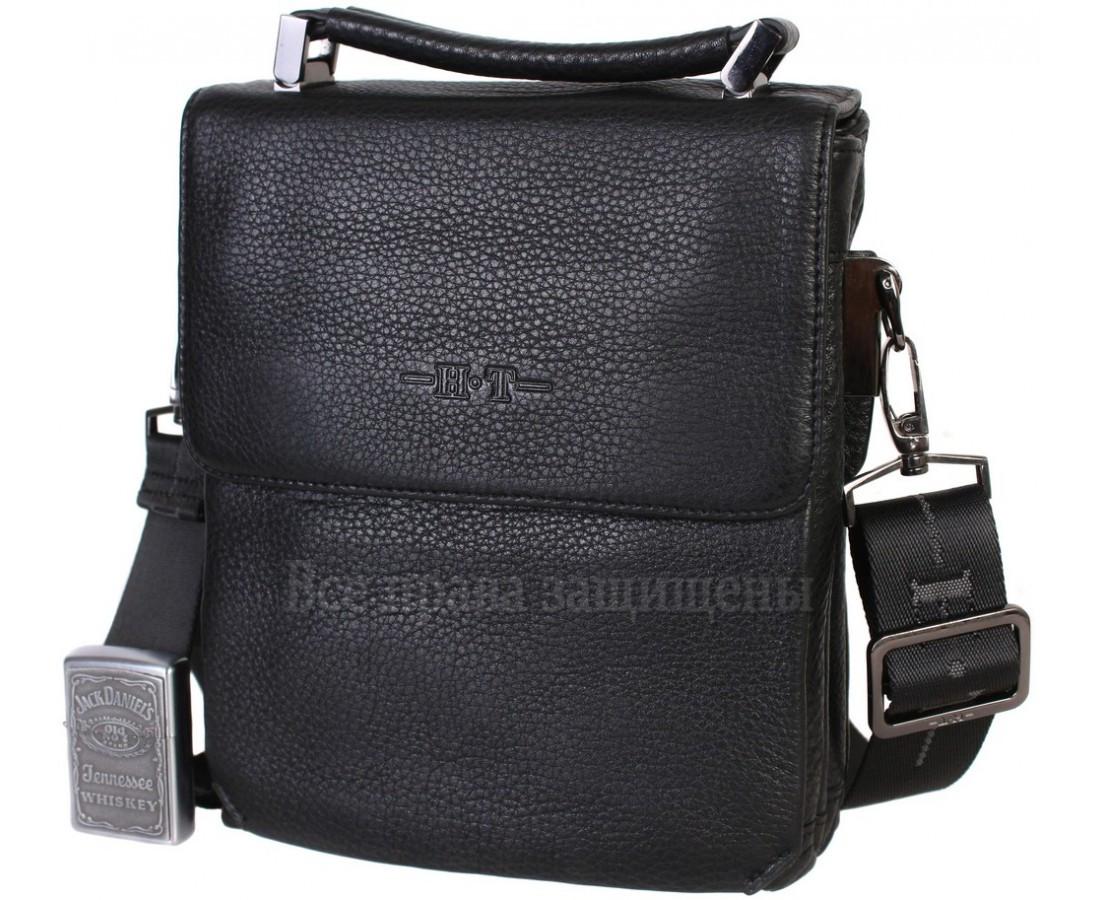 Мужская кожаная сумка через плечо черная (Формат: больше А5) HT-2811-1A