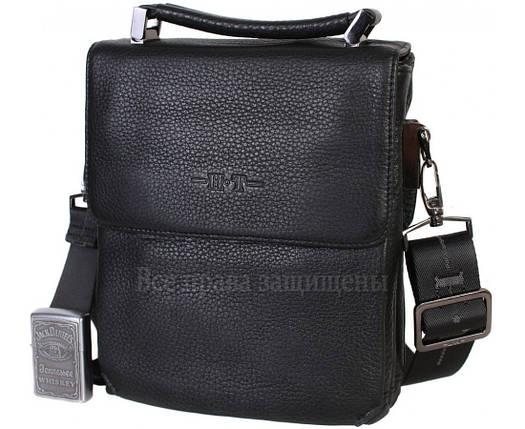 Мужская кожаная сумка через плечо черная (Формат: больше А5) HT-2811-1A, фото 2