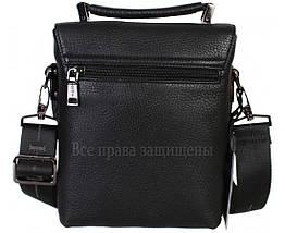 Мужская кожаная сумка через плечо черная (Формат: больше А5) HT-2811-1A, фото 3
