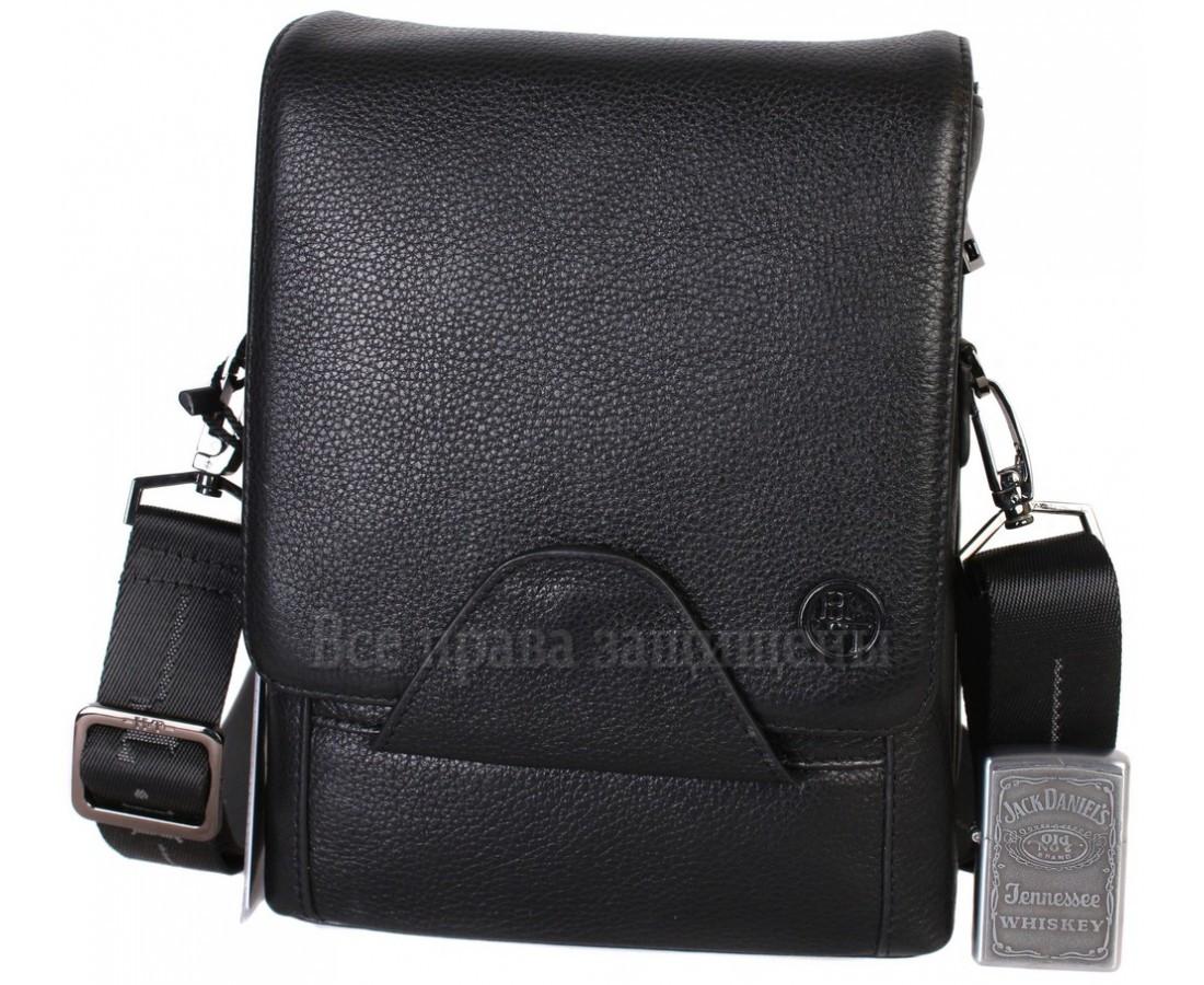 Чоловіча чорна шкіряна сумка (Формат: більше А5) HT-1562-10