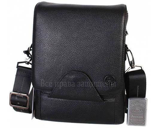 Чоловіча чорна шкіряна сумка (Формат: більше А5) HT-1562-10, фото 2