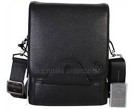 Чоловіча чорна шкіряна сумка (Формат: більше А5) HT-1562-10, фото 3