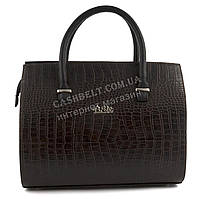 Каркасная стильная качественная сумка под рептилию B.Elite art. 03-63 коричневая Украина