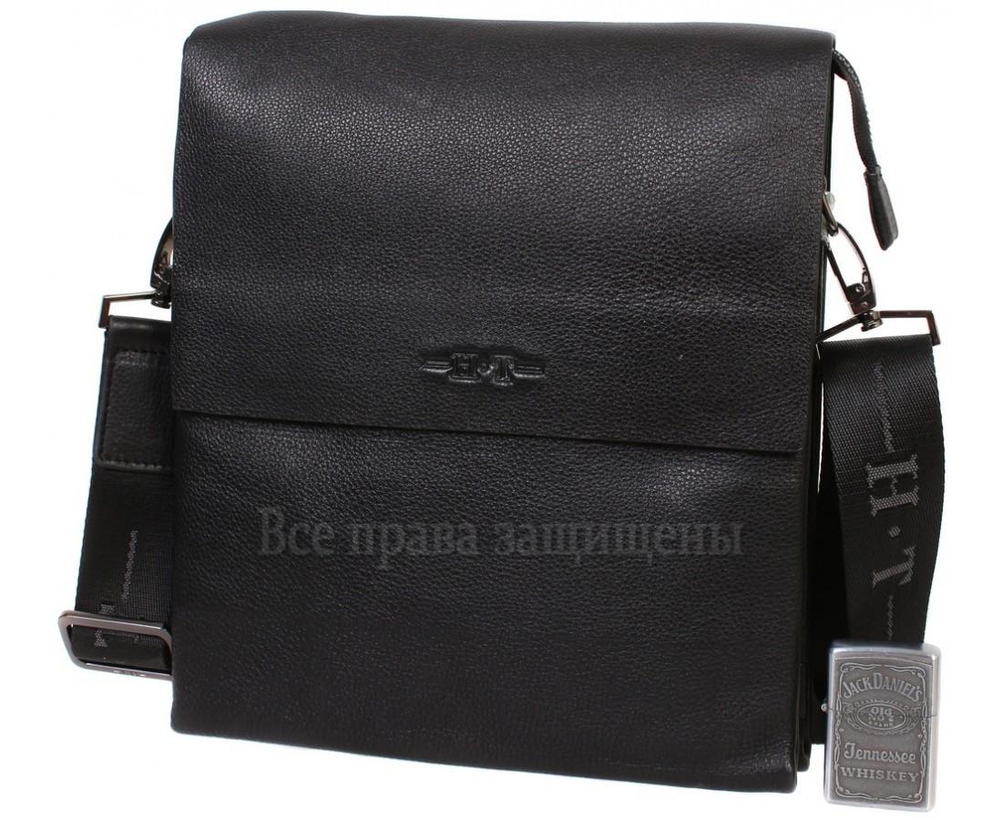 Мужская кожаная сумка через плечо черная (Формат: больше А5) HT-5127-4