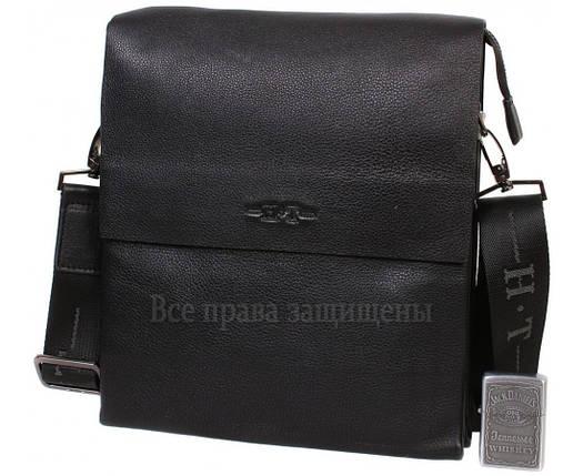 Чоловіча чорна шкіряна сумка (Формат: більше А5) HT-5127-4, фото 2