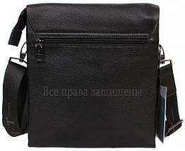 Мужская кожаная сумка через плечо черная (Формат: больше А5) HT-5127-4, фото 3
