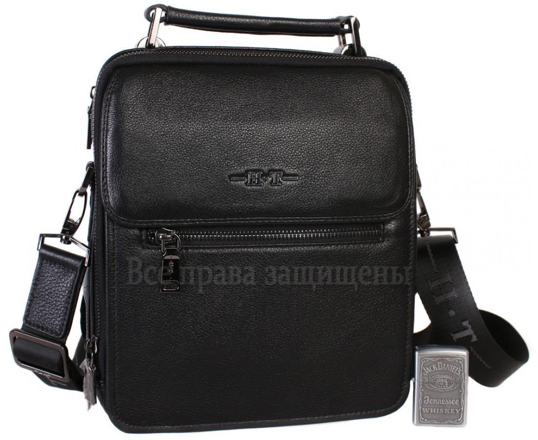 Чоловіча чорна шкіряна сумка (Формат: більше А5) HT-9027-5