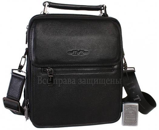 Чоловіча чорна шкіряна сумка (Формат: більше А5) HT-9027-5, фото 2