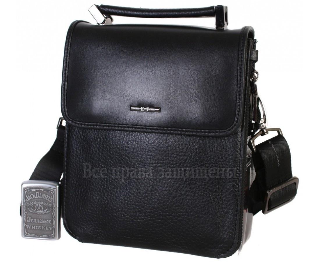 Чоловіча чорна шкіряна сумка (Формат: менше А5) HT-9203-6