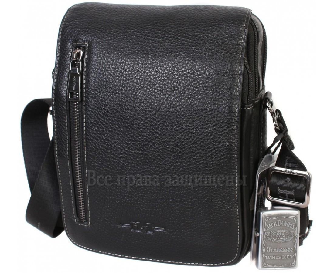 Мужская кожаная сумка через плечо черная (Формат: больше А5) HT-1538-17