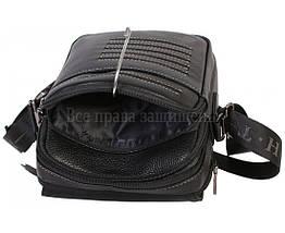 Мужская кожаная сумка через плечо черная (Формат: больше А5) HT-1538-17, фото 2
