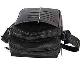 Мужская кожаная сумка через плечо черная (Формат: больше А5) HT-1538-17, фото 3