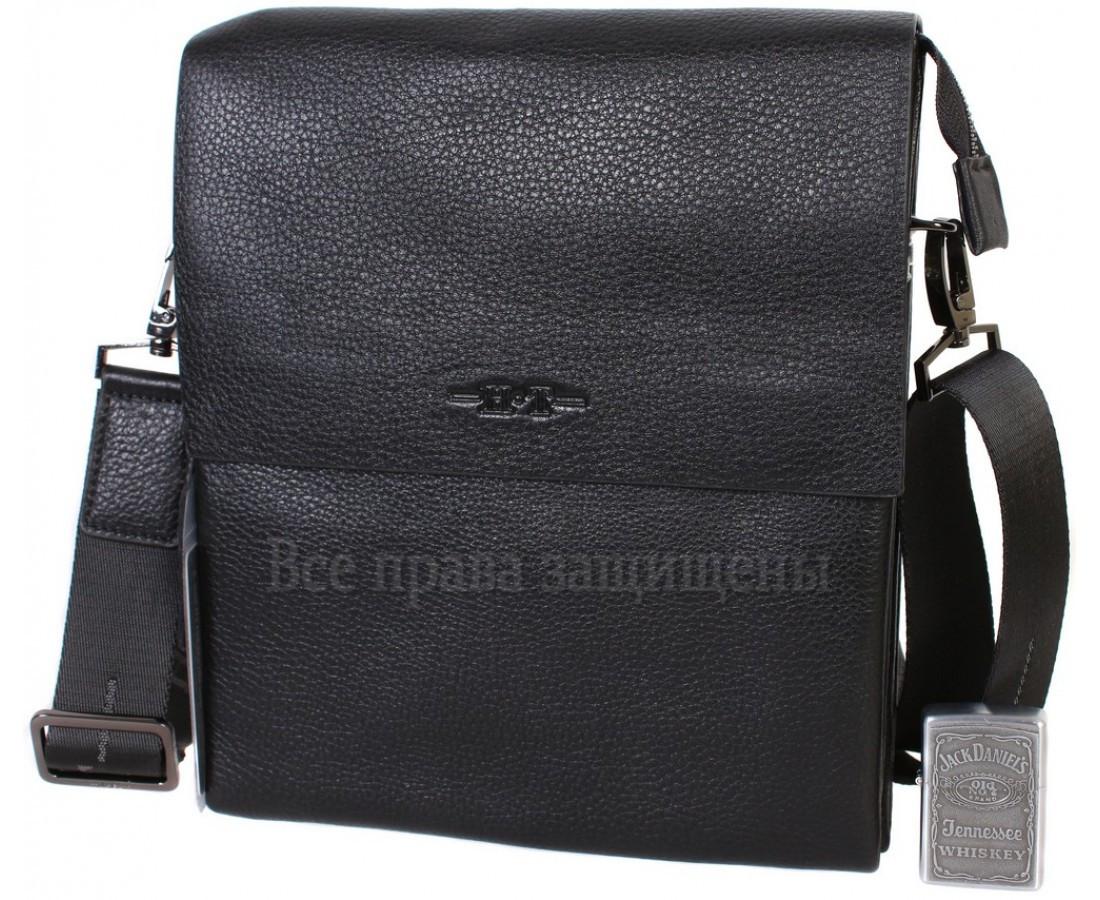Чоловіча чорна шкіряна сумка (Формат: більше А5) HT-5127-3