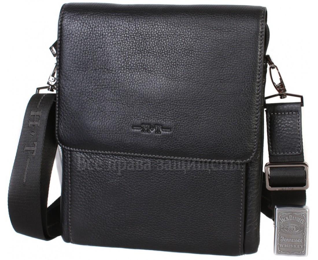 Чоловіча чорна шкіряна сумка (Формат: більше А5) HT-5190-3