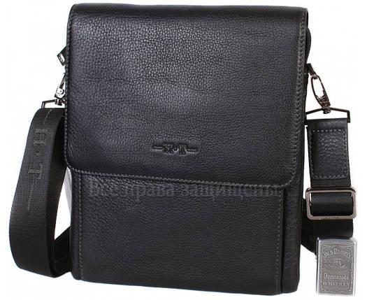 Чоловіча чорна шкіряна сумка (Формат: більше А5) HT-5190-3, фото 2