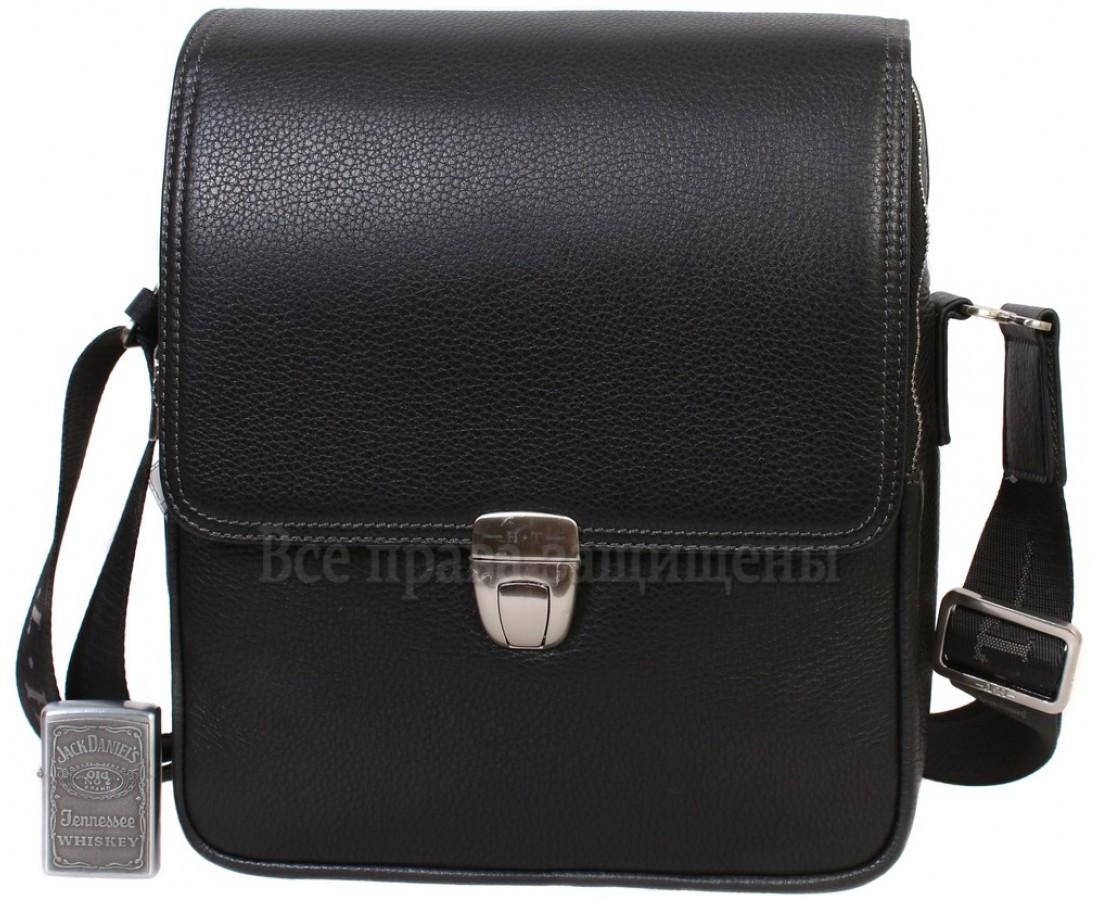 Чоловіча шкіряна сумка через плече чорна (Формат: більше А5) HT-5227-3