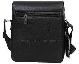 Чоловіча шкіряна сумка через плече чорна (Формат: більше А5) HT-5227-3, фото 2