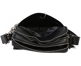 Чоловіча шкіряна сумка через плече чорна (Формат: більше А5) HT-5227-3, фото 3