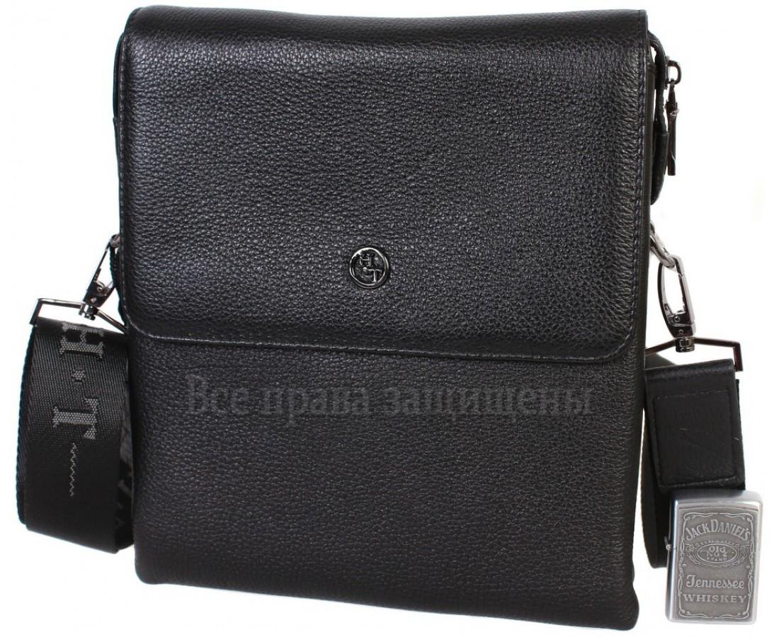 Чоловіча чорна шкіряна сумка (Формат: більше А5) HT-5262-4