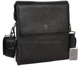 Чоловіча чорна шкіряна сумка (Формат: більше А5) HT-5262-4, фото 3
