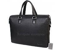Мужская кожаная сумка для ноутбука черная (Формат: больше А4) HT-5245-1
