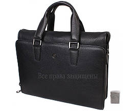 Мужская кожаная сумка для ноутбука черная (Формат: больше А4) HT-8014-1