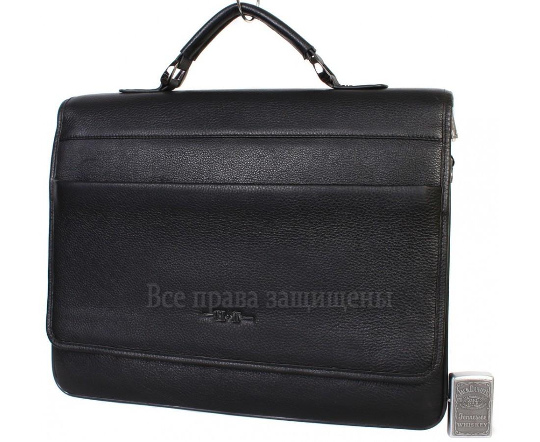 Чоловіча шкіряна сумка для ноутбука чорна (Формат: більше А4) HT-5233-1