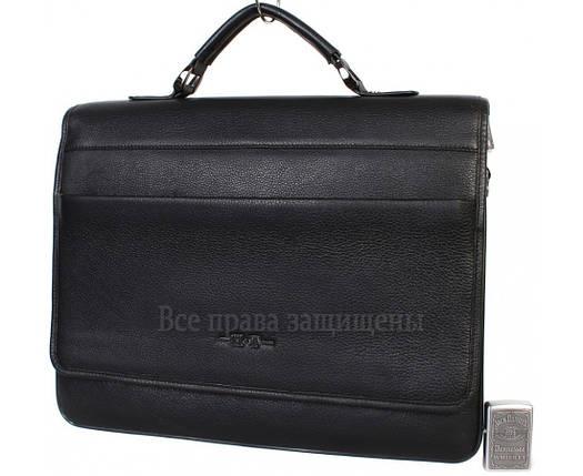 Чоловіча шкіряна сумка для ноутбука чорна (Формат: більше А4) HT-5233-1, фото 2