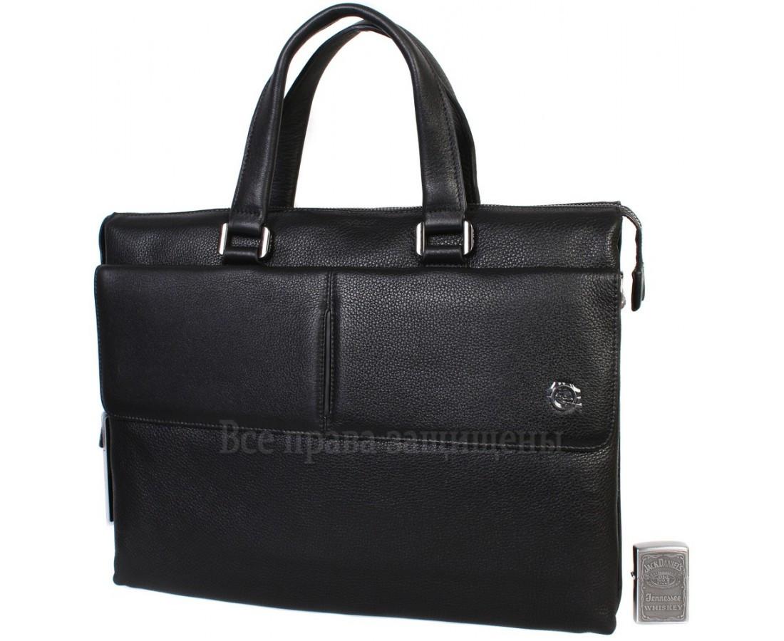 Чоловіча шкіряна сумка для ноутбука чорна (Формат: більше А4) HT-5281-1