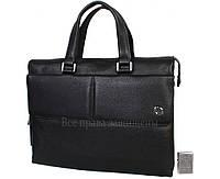 Мужская кожаная сумка для ноутбука черная (Формат: больше А4) HT-5281-1
