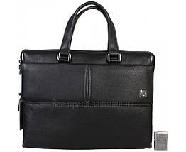 Чоловіча шкіряна сумка для ноутбука чорна (Формат: більше А4) HT-5281-1, фото 3