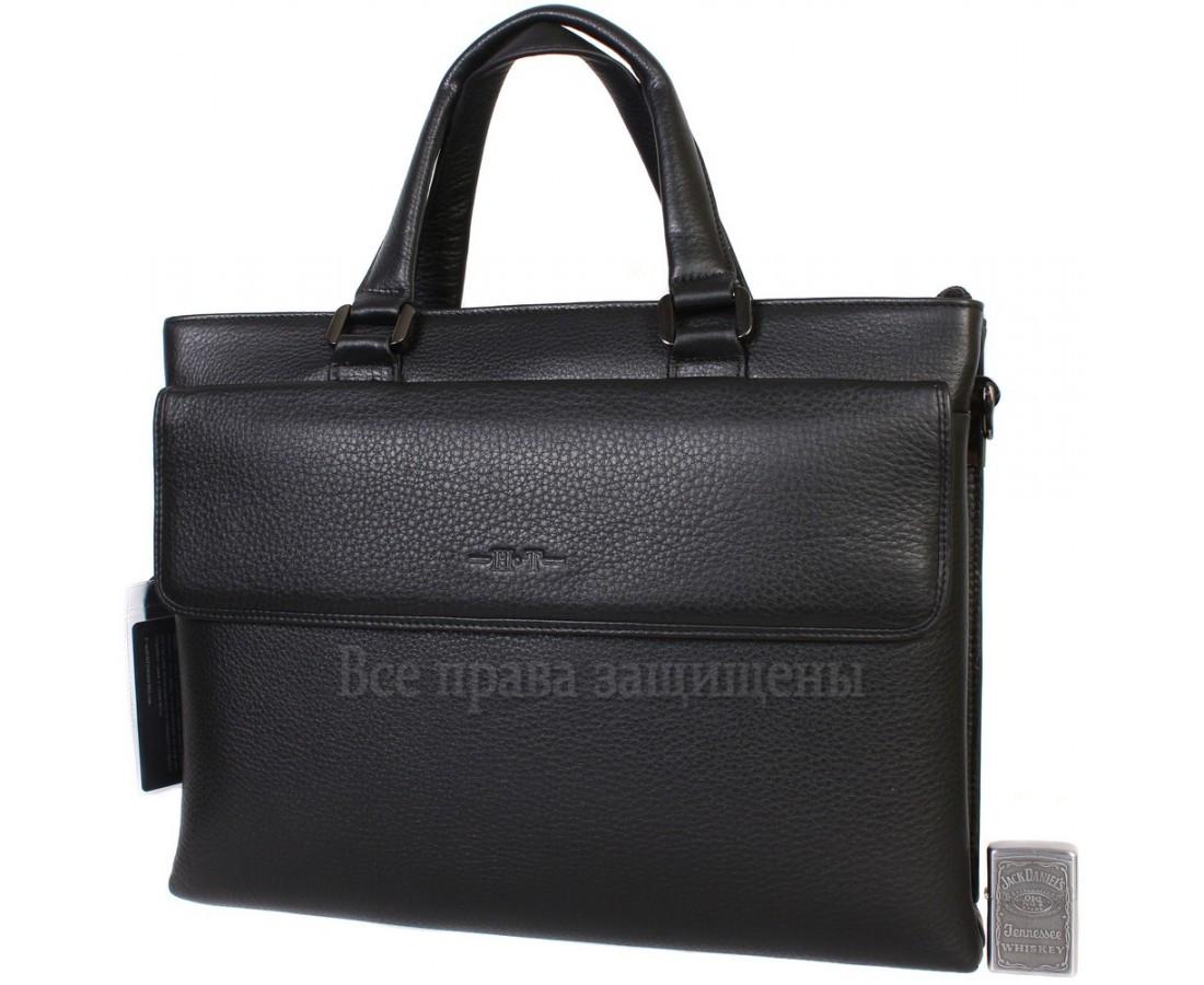 Мужская кожаная сумка для ноутбука черная (Формат: больше А4) HT-5238-1
