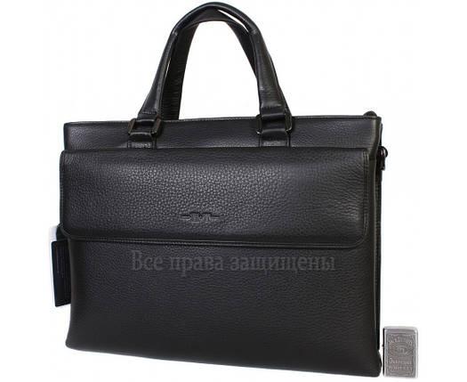 Мужская кожаная сумка для ноутбука черная (Формат: больше А4) HT-5238-1, фото 2