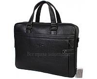 Мужская кожаная сумка для ноутбука черная (Формат: больше А4) HT-5124-1